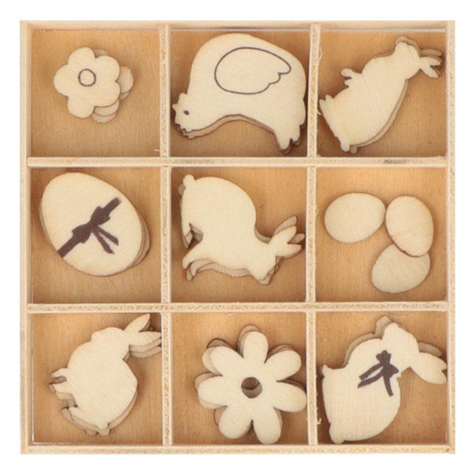 Silhouette en bois thème de Pâques 27 pcs