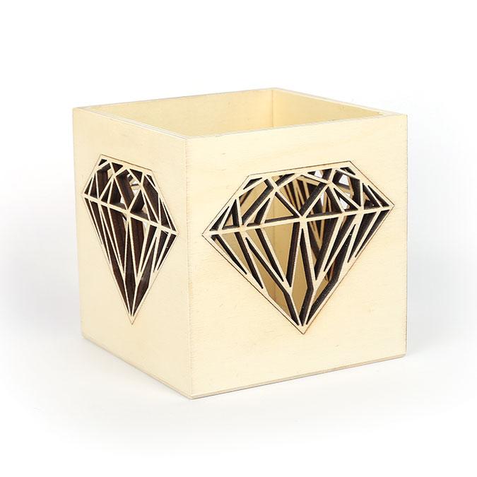 Photophore en bois Diamant 10 x 10 x 10 cm