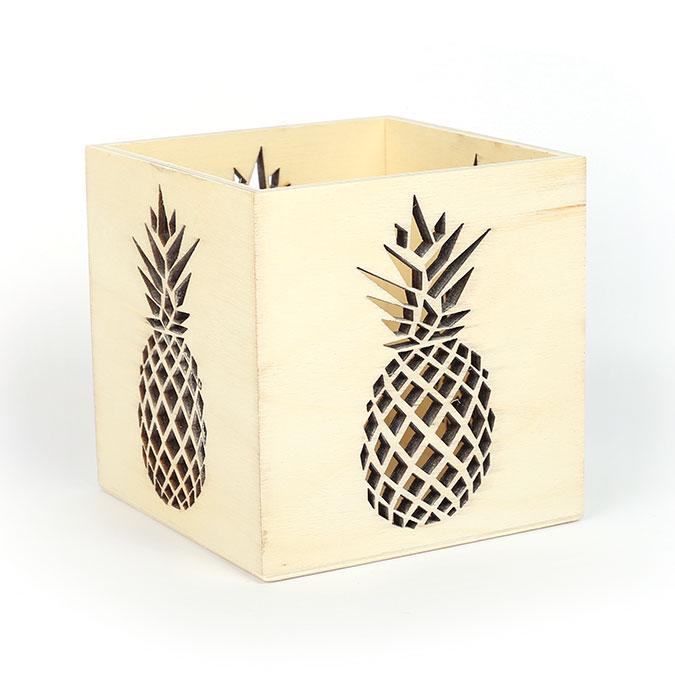 Photophore en bois Ananas 10 x 10 x 10 cm