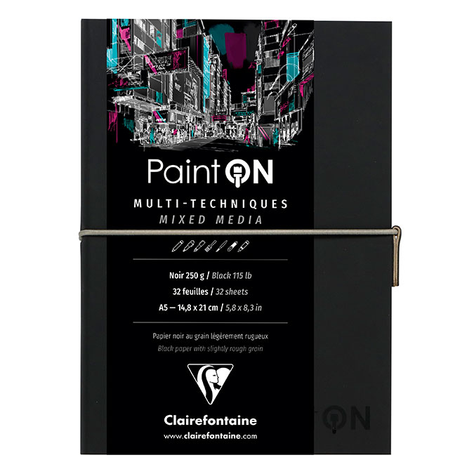 Carnet Paint'On papier Noir 250 g/m² A5 32 F