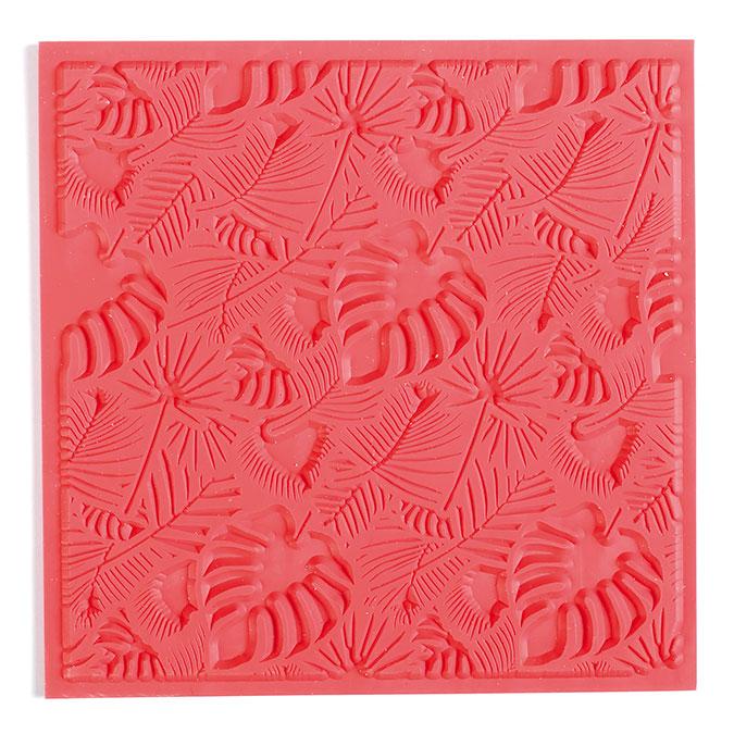 Tapis de texture pour pâte polymère 9 x 9 cm Feuillage