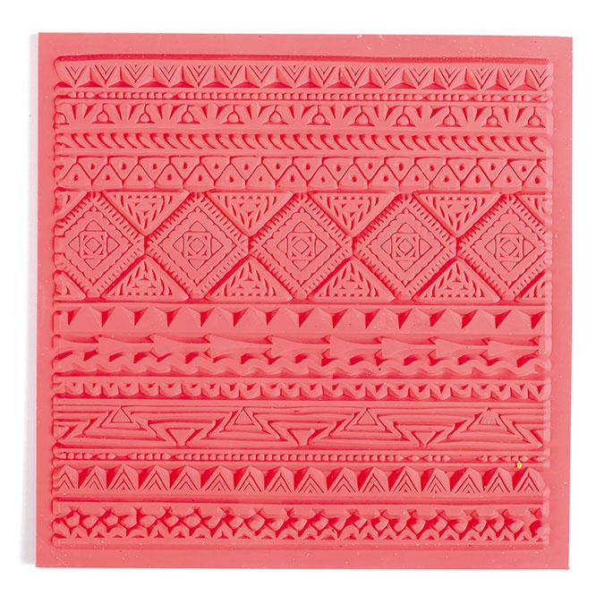 Tapis de texture pour pâte polymère 9 x 9 cm Ethnique