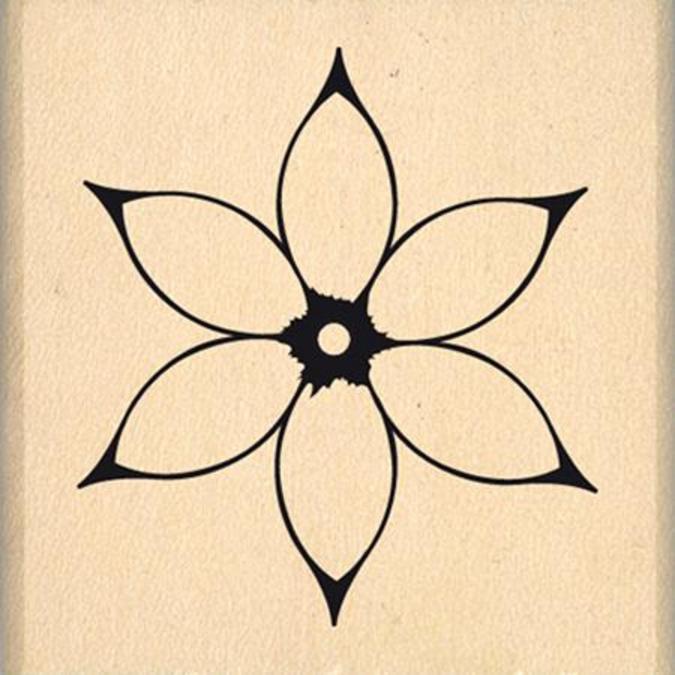 Tampon bois Jolie fleur blanche 3 x 3 cm