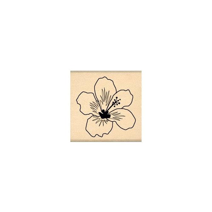 Tampon bois Hibiscus blanc 4 x 4 cm