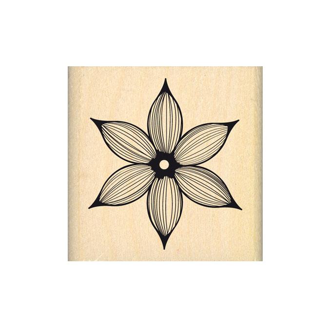 Tampon bois Jolie fleur lignée 4,5 x 4,5 cm