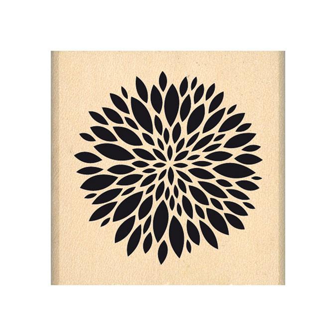 Tampon bois Jolie petite fleur 4 x 4cm
