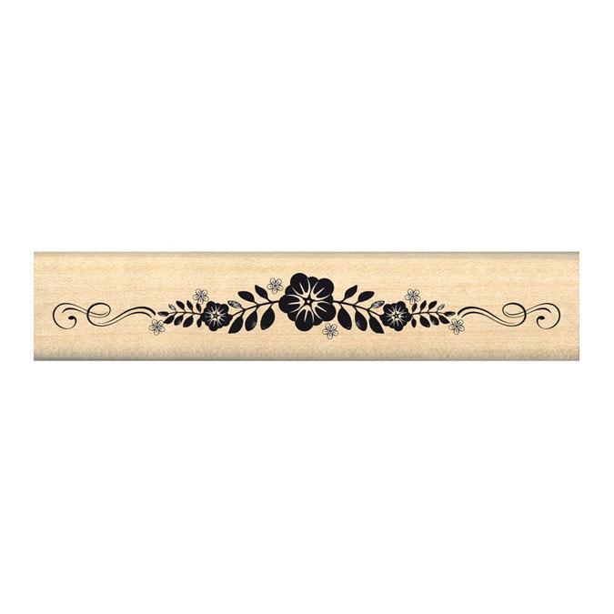 Tampon bois Bordure florale 2 x 10 cm