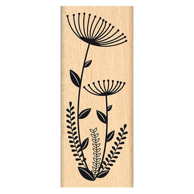 Tampon bois Tampon bois Fleurs en duo 4 x 10 cm