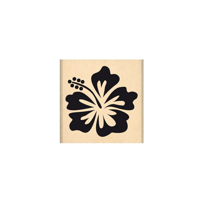Tampon bois Hibiscus 4 x 4 cm