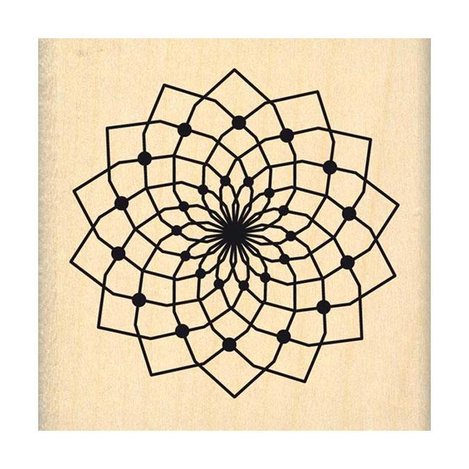 Tampon bois Grande fleur de rêve 6 x 6cm