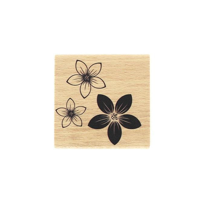 Tampon bois Trio de fleurs 6 x 6cm