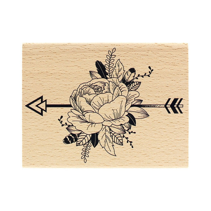 Tampon bois Pivoine ethnique 10 x 13 cm