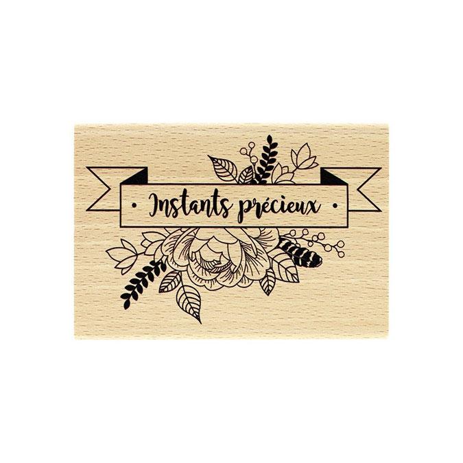 Tampon bois Bannière florale 7 x 10 cm