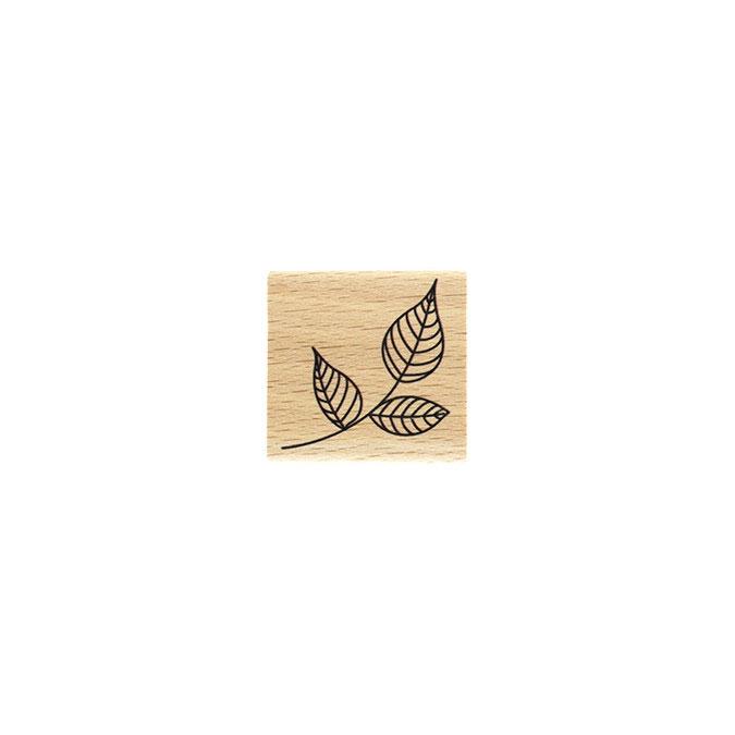 Tampon bois Petit feuillage 4 x 4 cm