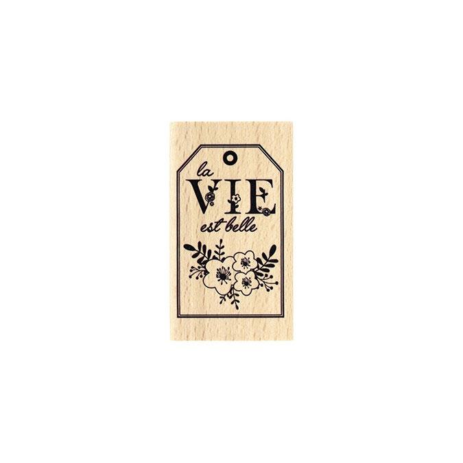 Tampon bois Vie en fleurs 4 x 7 cm