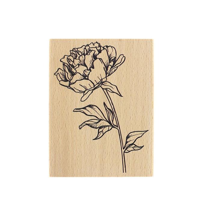 Tampon bois Fleur à bouquet 10 x 13 cm