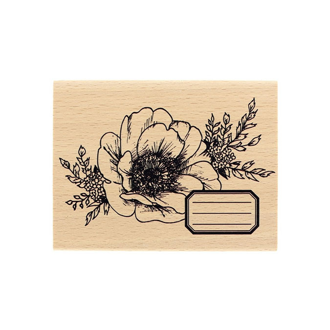 Tampon bois Fleur journaling 10 x 13 cm