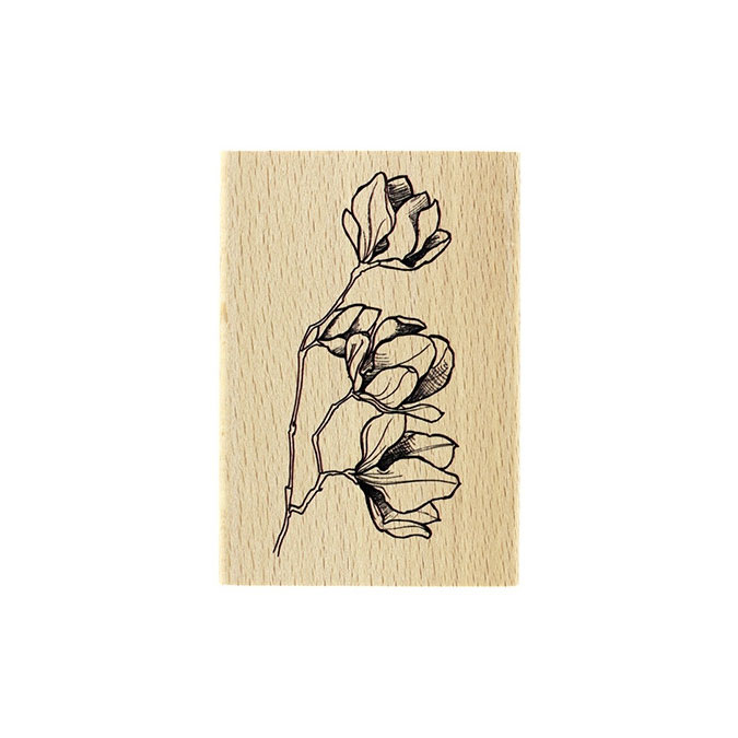 Tampon bois Fleurs en boutons 7 x 10 cm