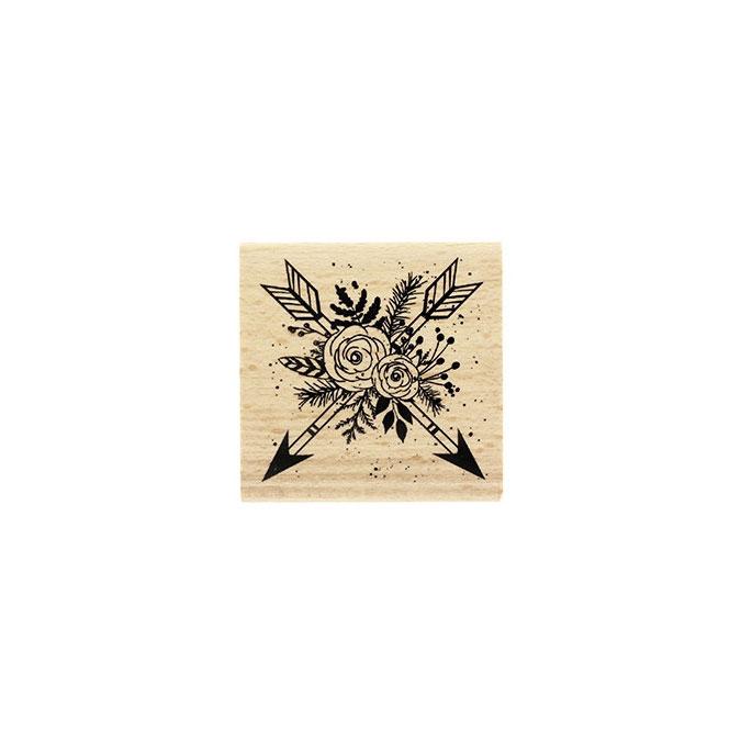 Tampon bois Flèches en fleurs 6 x 6 cm
