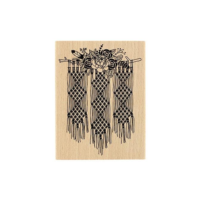 Tampon bois Macramé floral 10 x 13 cm