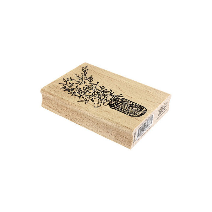 Tampon bois Bouquet de feuillage 7 x 10 cm