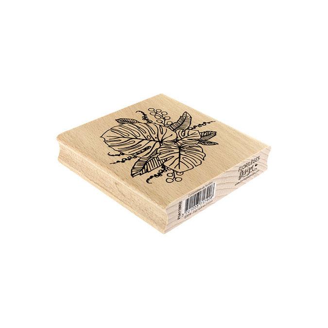 Tampon bois Composition de feuilles 10 x 10 cm