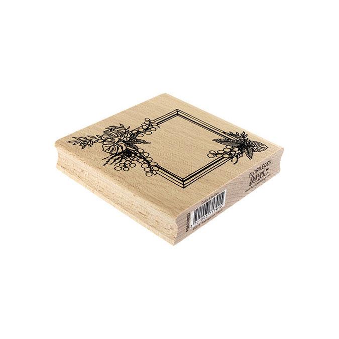 Tampon bois Cadre à feuilles 10 x 10 cm