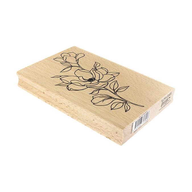 Tampon bois Fleur et boutons 10 x 15 cm