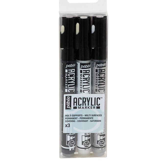 Feutre Acrylic Marker 1,2 mm Set Argent Blanc Noir