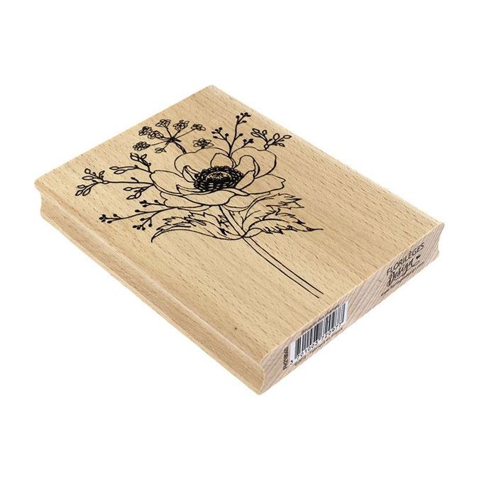 Tampon bois Bouquet des champs 10 x 13 cm