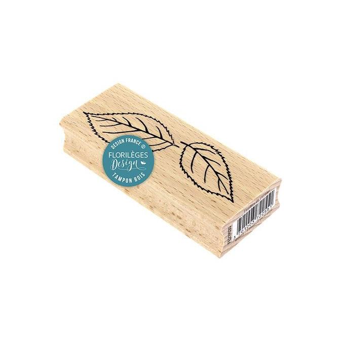 Tampon bois Feuillage de cerisier 10 x 4 cm