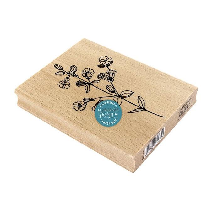 Tampon bois Fleurs des champs 10 x 13 cm
