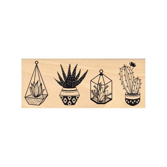 Tampon bois Petites plantes 6 x 15 cm