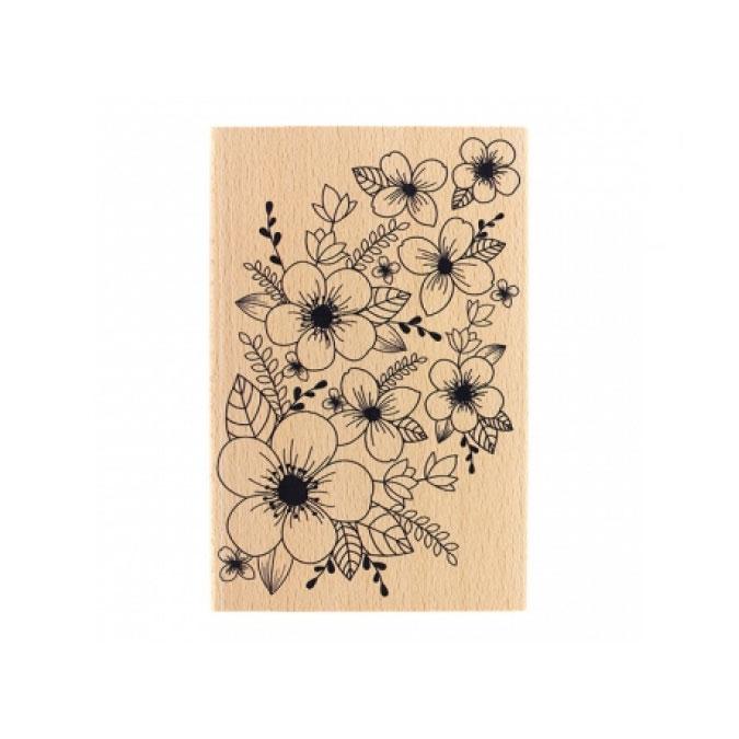 Tampon bois Fond floral 10 x 15 cm