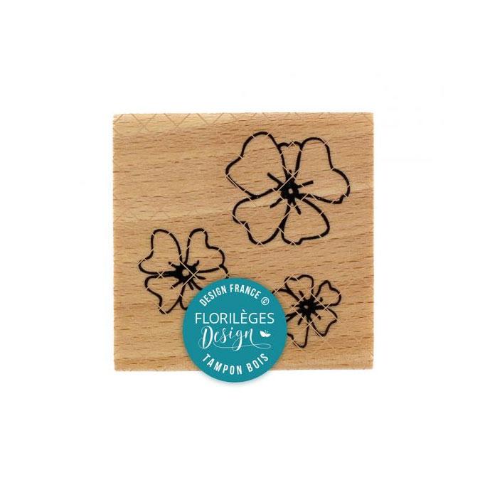 Tampon bois Trio fleurs des champs 5 x 5 cm