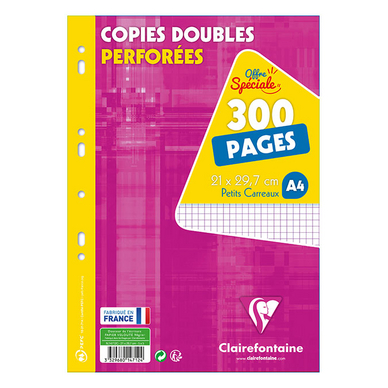 Copies doubles A4 Petits carreaux 300 pages