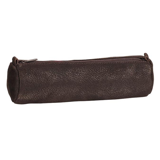 Trousse en cuir Ronde noire 21 x 6 cm