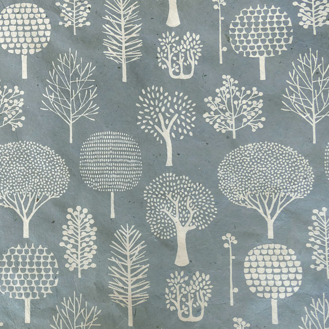 Papier Lokta Imprimé 50 x 75 cm Forêt bleu