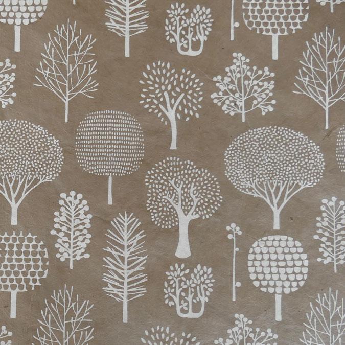 Papier Lokta Imprimé 50 x 75 cm Forêt gris