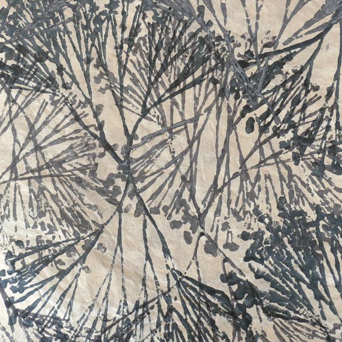 Papier Lokta Imprimé 50 x 75 cm Vanaspati gris
