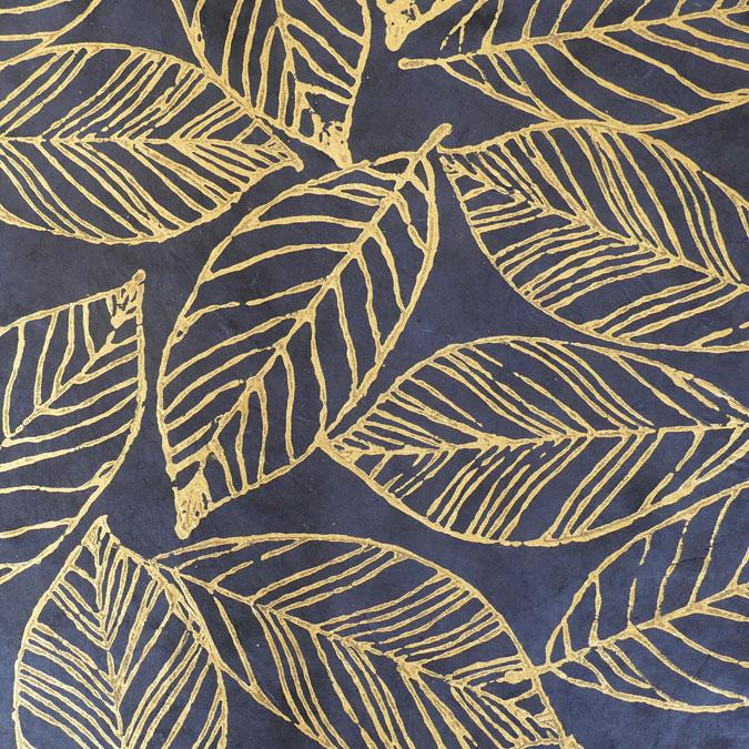 Papier Lokta Imprimé 50 x 75 cm Fontainebleau gris