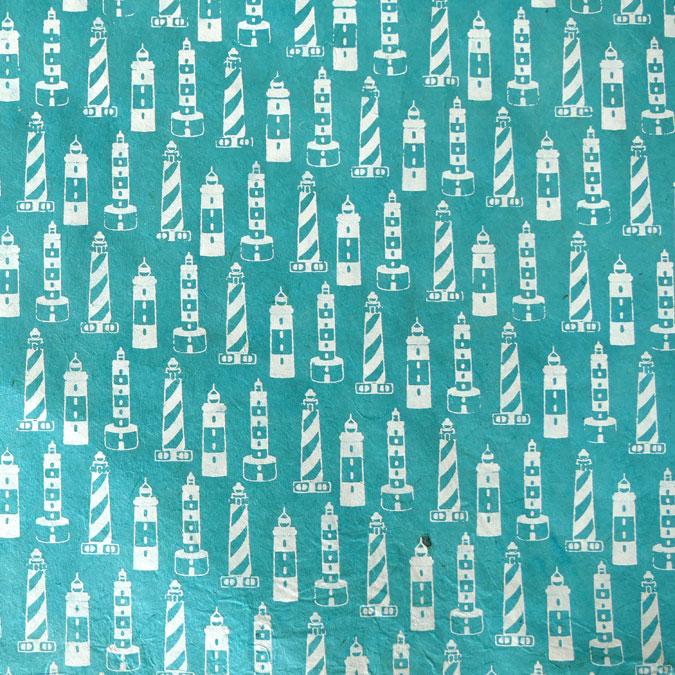Papier Lokta Imprimé 50 x 75 cm Les Phares turquoise