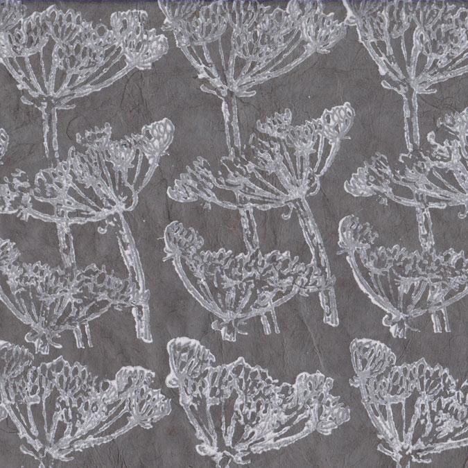 Papier Lokta Imprimé 50 x 75 cm Cigüe gris