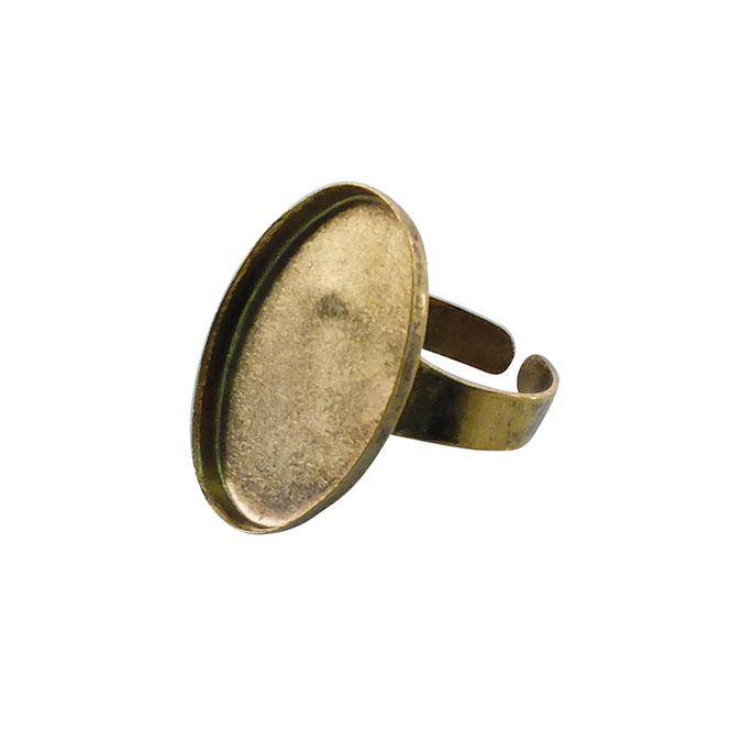 Bague plateau Ovale creux Vieil Or 25 x 18 mm