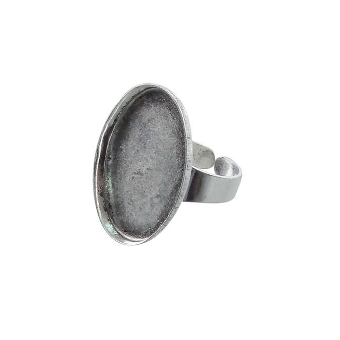 Bague plateau Ovale creux Vieil Argent 25 x 18 mm