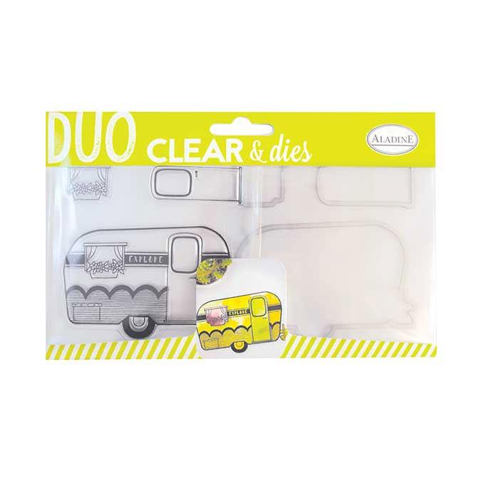 Matrice de découpe + Tampon clear Caravane