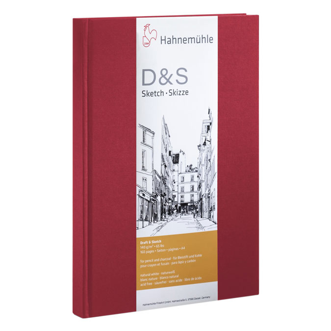 Livre à croquis format portrait couverture rouge 140g/m²