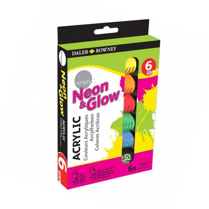 Peinture acrylique Neon & Glow Simply 6 x 12 ml