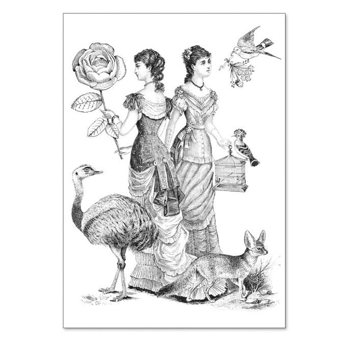 Carte double à colorier 12 x 17 cm Twin sisters
