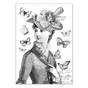 Carte double à colorier 12 x 17 cm Miss Butterfly